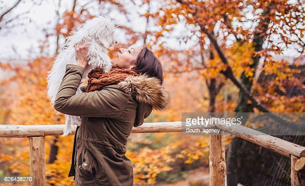 Woman loving her pet