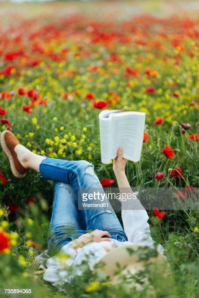 Woman lying in a field reading a book