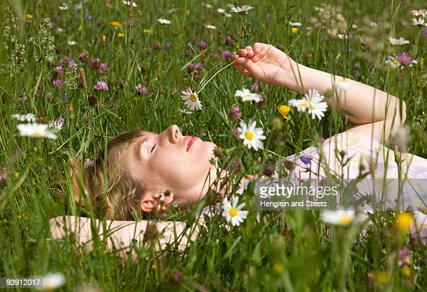 woman lying in grass with spring flowers - one young woman only stock pictures, royalty-free photos & images