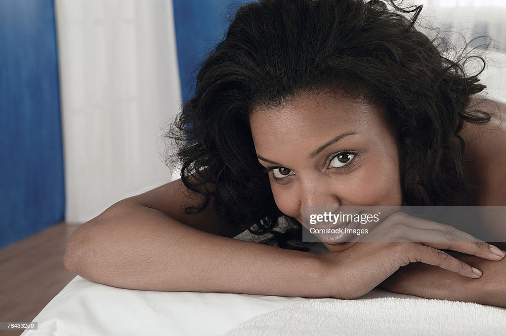 Woman lying on a massage table : Stockfoto