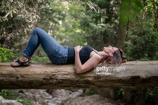 woman lying on her back on a tree in a forest. - handen op de buik stockfoto's en -beelden