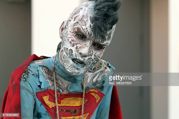 Woman made up by Cinema Makeup School plays a female Bizarro from the comic strip of the same name during Comic-Con International 2016 in San Diego,...