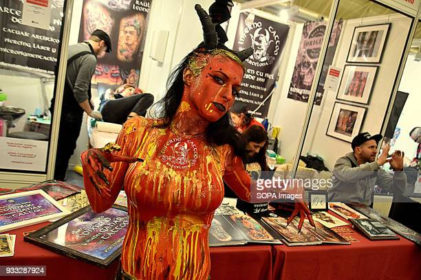 A woman madeup with the technique of Body Paint seen during the 2nd Spanish tattoo artists Convention of the Only Tattoo Barcelona The Only Tattoo...