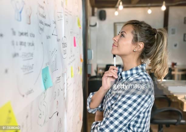 Frau macht einen Geschäftsplan ein d denken Ideen in eine kreative Büro
