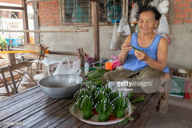 woman making bai sii from banana leaves. - tim bewer stockfoto's en -beelden