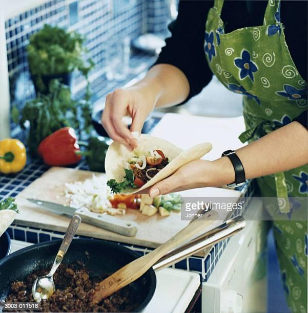 Woman Making Burrito