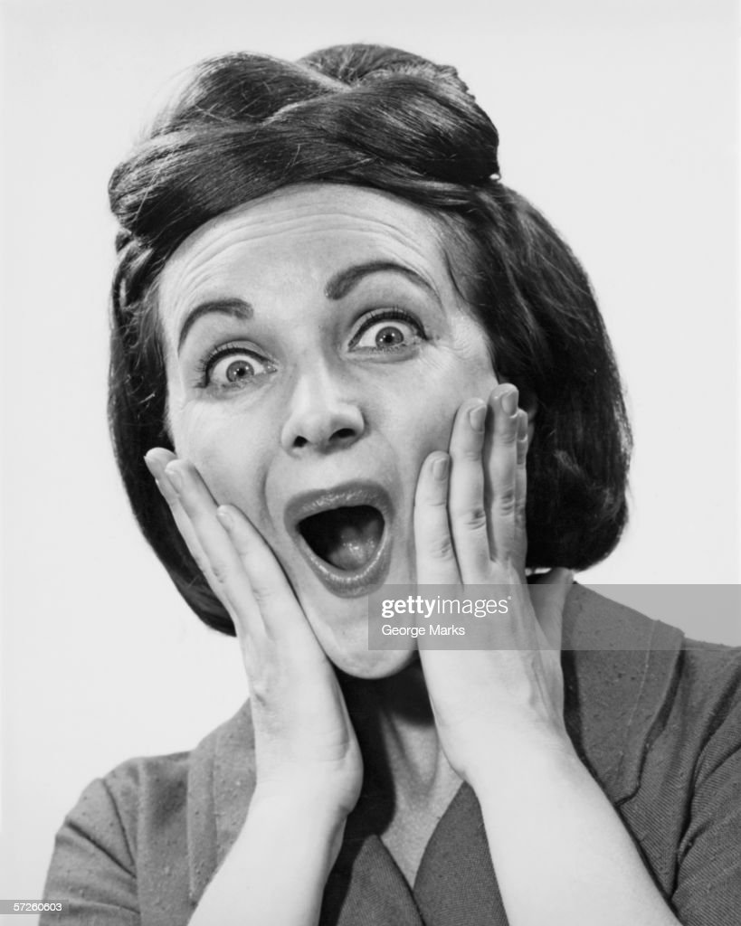 Woman making face, (B&W), portrait : Stock Photo