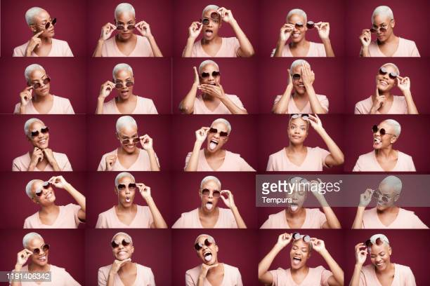 woman making faces headshots composition. - part of a series stock pictures, royalty-free photos & images