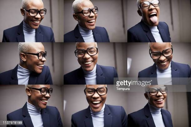 woman making faces with funny retro glasses. - photo mosaic stock pictures, royalty-free photos & images