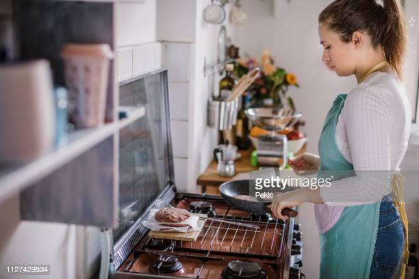 77 Cooking Hamburgers On Stove Photos And Premium High Res Pictures Getty Images