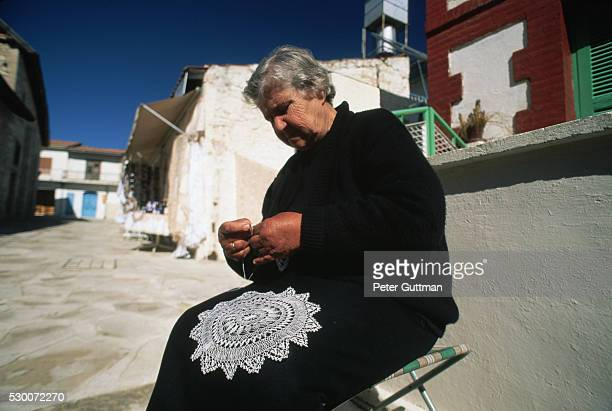 Woman Making Lace Doily