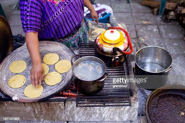 woman making tortillas - margarita beach stock photos and pictures