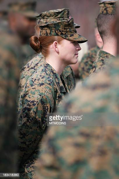 woman marine in formation - marines military stock photos and pictures
