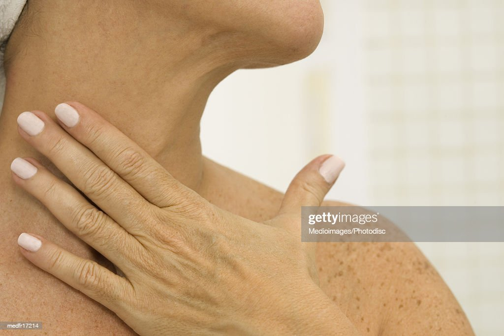 Woman massage her neck : Stock Photo