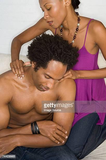 Woman massaging man