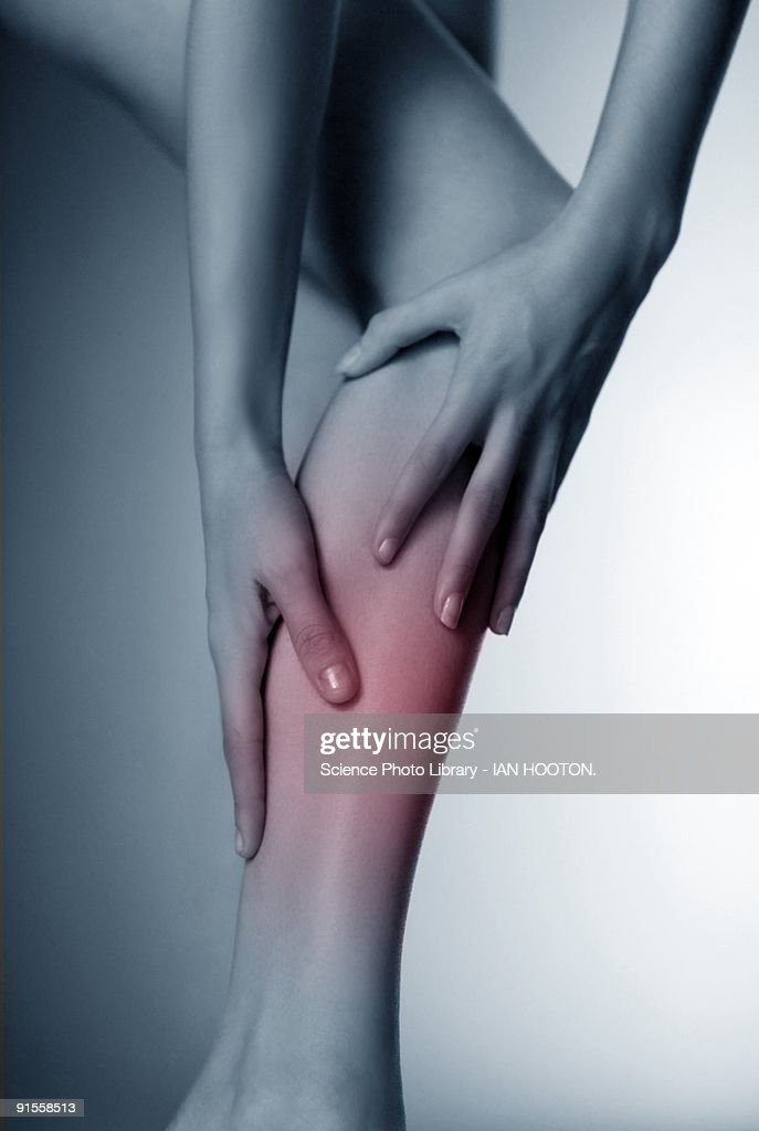 Woman massaging sore calf : Stock Photo