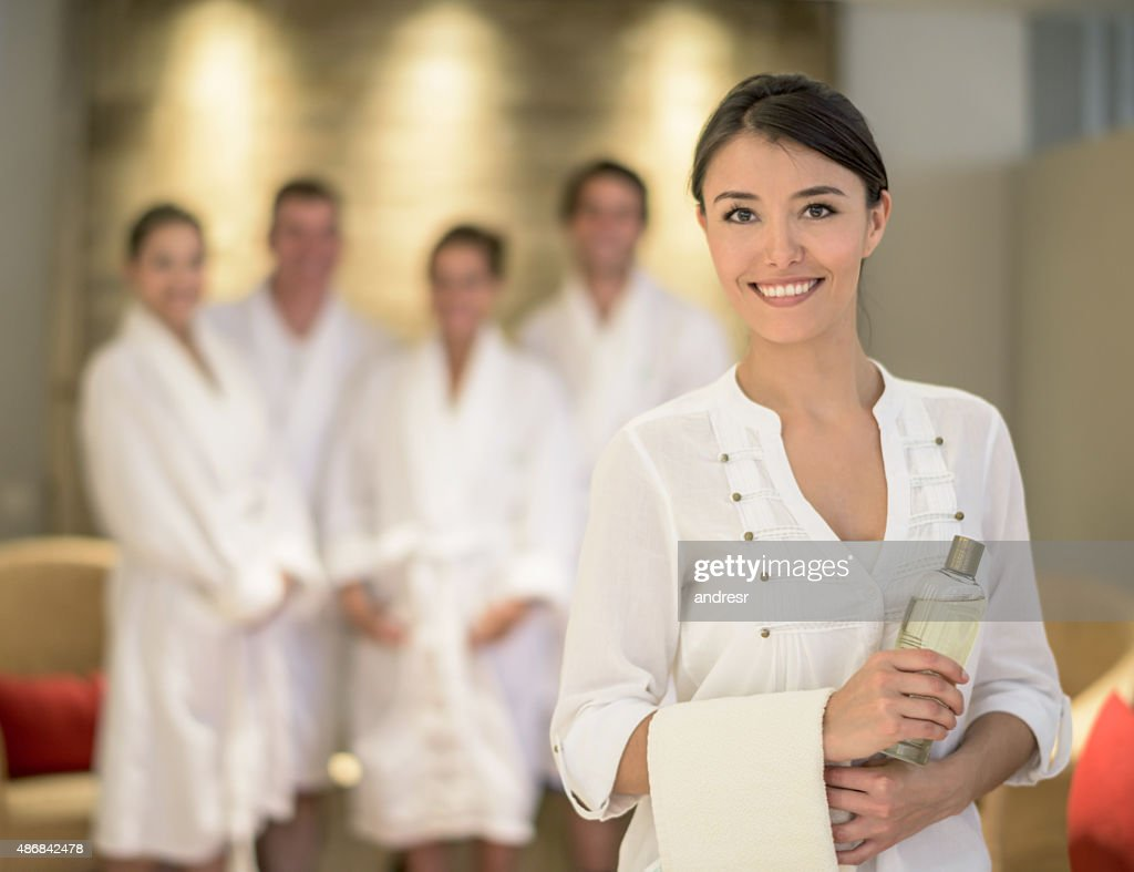Woman masseuse at the spa : Stock Photo