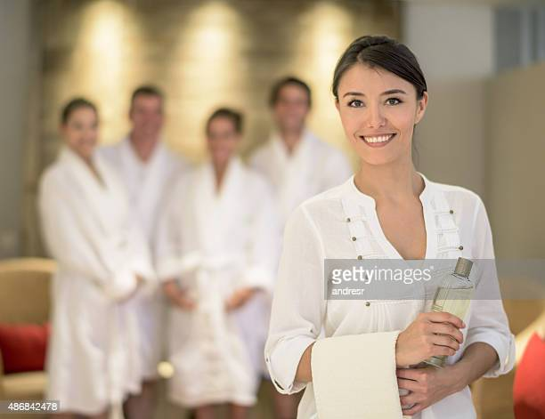 woman masseuse at the spa - beauty care occupation stock photos and pictures