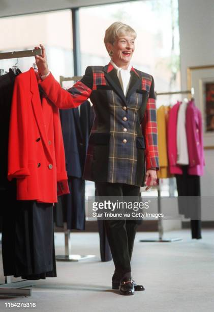 suit Escada plaid jacket velvet pant blouse Peter Nygard earings Channel shoes Gucci loafer The model is a Fashion Avenue sales associate Sandy Guerin