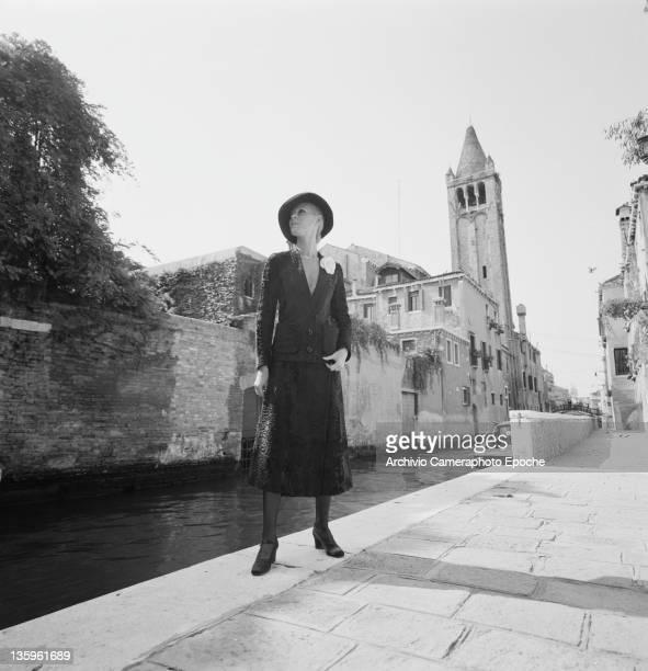 A woman modelling a Jean Patou outfit Venice circa 1965