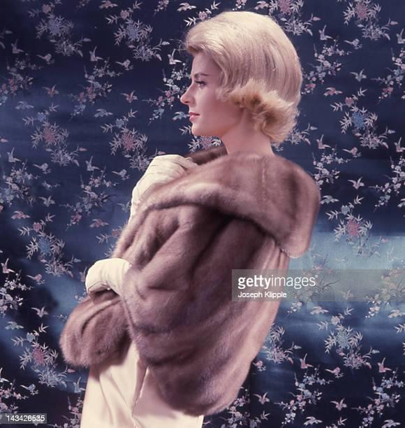 A woman models a fur mink stole Washington DC November 1962