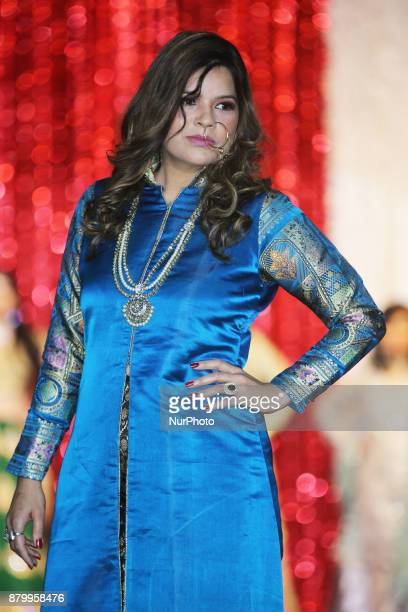 Woman models an elegant Indian outfit during a fashion show held as part of the Diwali Gala Celebration held in Mississauga Ontario Canada on 25...
