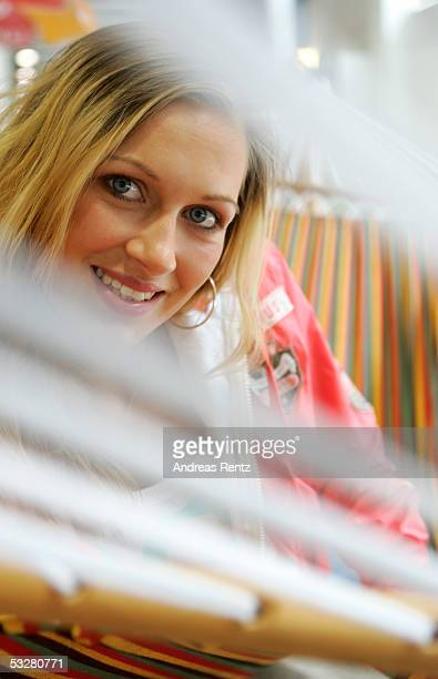 A woman models fashion for the Soccx 2006 summer wear collection during the BInBerlin Trade Show for Fashion on July 24 2005 in Berlin Germany At the...
