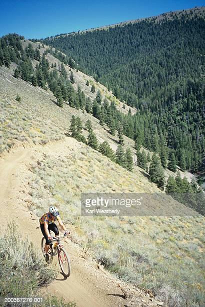 Woman mountain biking, Cold Springs Trail, Bald Mountain, Idaho, USA, elevated view