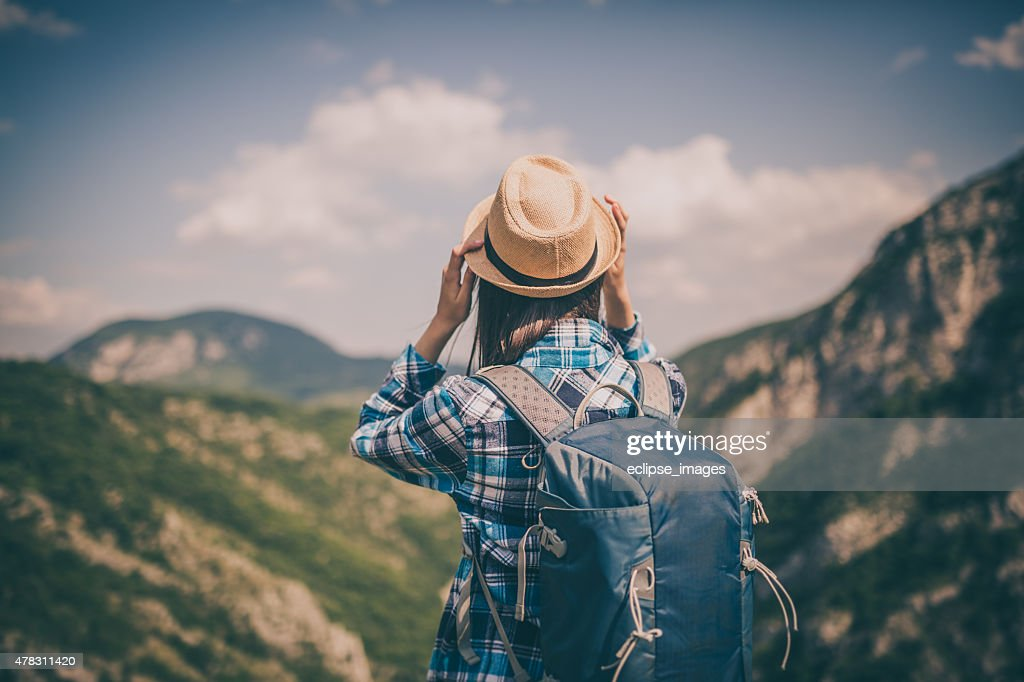 Woman mountain Hiker : Stock Photo