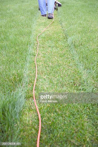 Woman mowing lawn with electric mower, low section, rear view