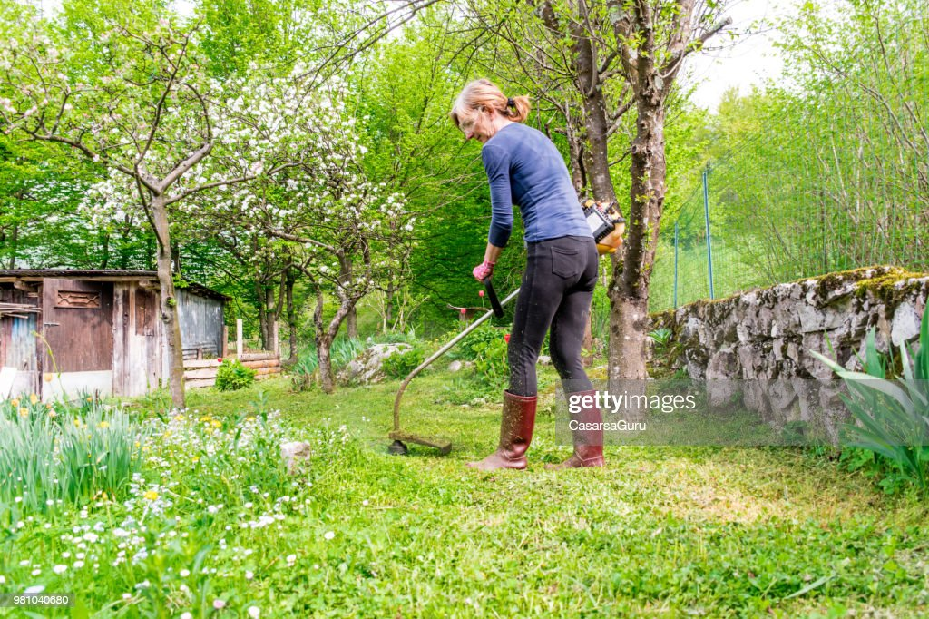 Woman Mowing The Lawn High-Res Stock Photo - Getty Images