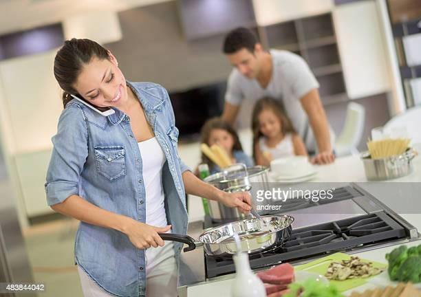 Woman multitasking at home