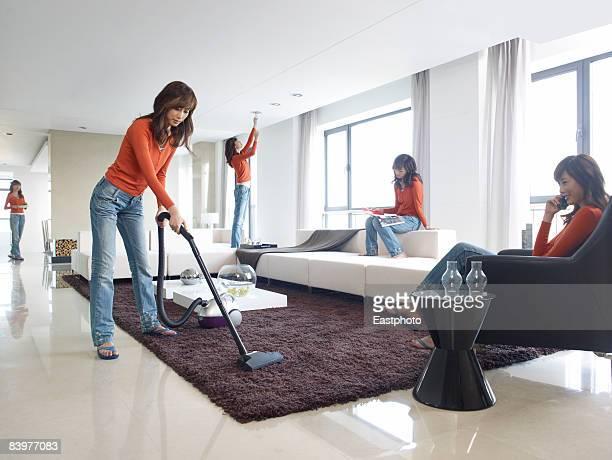 Woman multi-tasking.