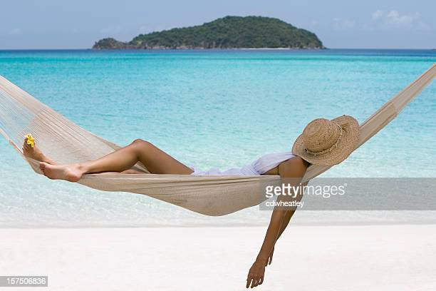 woman napping in a hammock
