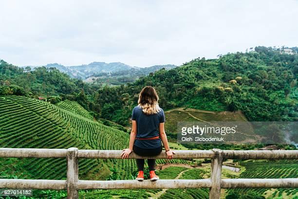 Woman near tea plantation in Thailand