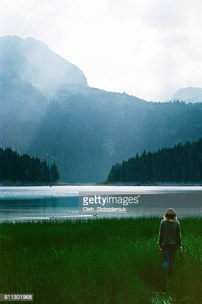 Woman near the Black lake
