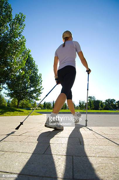 Woman nordic walking in Salt Lake City, Utah.