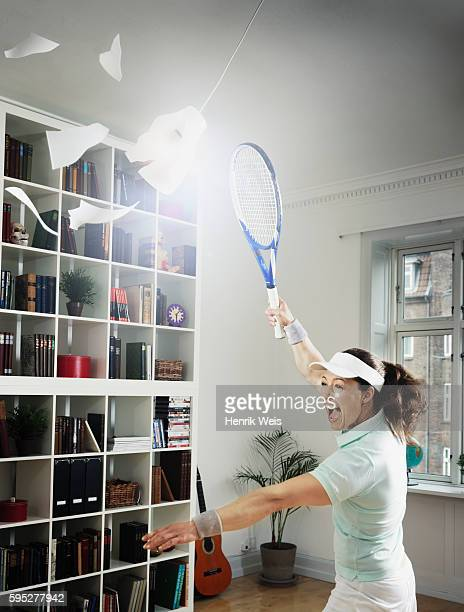 Woman obsessed with tennis