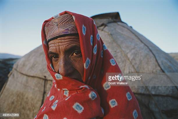 A woman of a nomadic people at a yurt encampment in the Wakhan Corridor of northeastern Afghanistan 2004