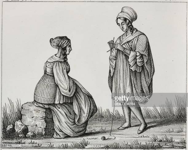 Woman of Chios and woman of Mycenae Greece lithograph from Galleria universale di tutti i popoli del mondo ossia storia dei costumi religioni riti...