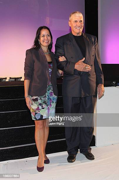 Woman of Substance and Style Honoree Raphael Bastian walks with celebrity presenter Mark Rypien at Destination Fashion 2012 To Benefit The Buoniconti...