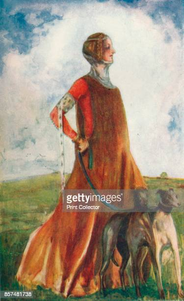 A Woman of the Time of Edward III' 1907 From English Costume painted and described by Dion Clayton Calthrop [Adam Charles Black London 1907] Artist...
