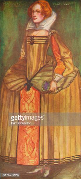 A Woman of the Time of Elizabeth' 1907 From English Costume painted and described by Dion Clayton Calthrop [Adam Charles Black London 1907] Artist...
