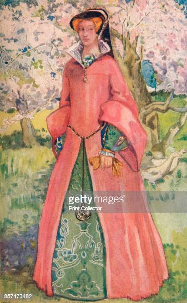 A Woman of the Time of Queen Mary' 1907 From English Costume painted and described by Dion Clayton Calthrop [Adam Charles Black London 1907] Artist...