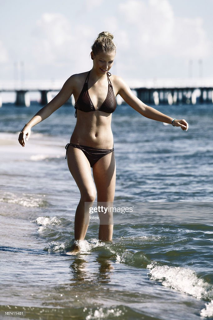 Woman on a beach : Stockfoto