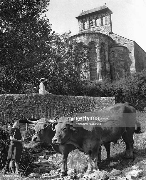 Woman on a bridge with in front of her a little girl with her oxen, in the back with can see the church of Espalion, Aveyron, France.