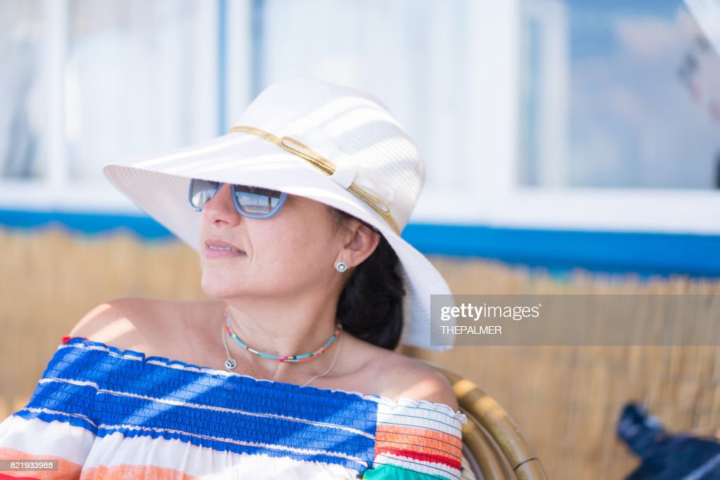 Woman on a cafe in Capri Italy : Stock Photo