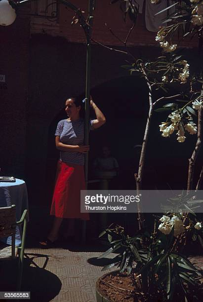 A woman on a cafe terrace in Portofino Italy 1st December 1951 Original publication Picture Post 5599 Portofino unpub