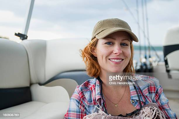 Woman on a fishing boat.