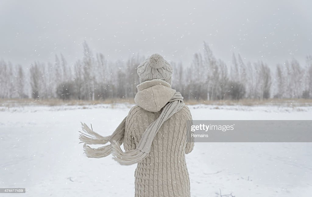 Woman on a meadow in winter : Stock Photo